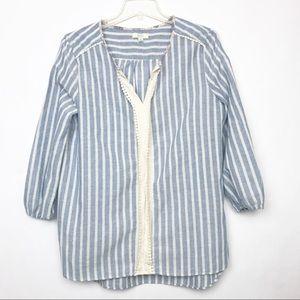 Kori America Striped Boho 3/4 Sleeve Peasant Top